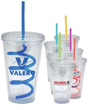 16 oz. Double Wall Acrylic Tumbler with Swirl Staw