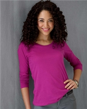 Anvil Ladies' Sheer Combed Ringspun Long-Sleeve Scoop Neck T-Shirt