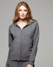 Bella Women's Full-Zip Raglan Hooded Sweatshirt