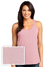 District Made Ladies Mini Stripe Gathered Racerback Tank