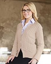 Tri-Mountain Claire Cable Cardigan Sweater