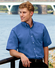 UltraClub Men's Classic Wrinkle-Free Short-Sleeve Oxford
