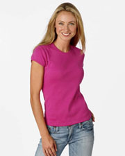 Bella Women's 1x1 Rib Cap-Sleeve T-Shirt