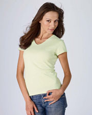 Bella Ladies Baby Rib Short Sleeve V-Neck Tee