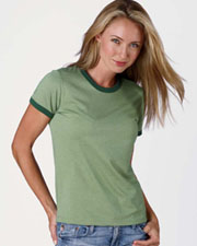 Bella Ladies' Heather Jersey Short-Sleeve Ringer T-Shirt