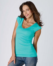 Bella Ladies' Sheer Mini Rib Cap-Sleeve Deep V-Neck T-Shirt