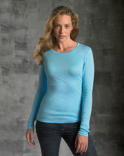 Bella Ladies' Sheer Mini Rib Long-Sleeve T-Shirt