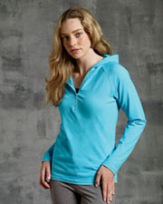 Bella Ladies' Cotton/Spandex Half-Zip Hooded Pullover