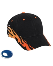 Flame Pattern Brushed Bull Denim Low Profile Pro Style Cap