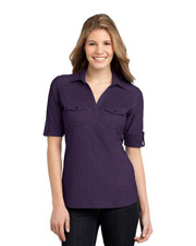 Port Authority® Ladies Oxford Pique Double Pocket Polo