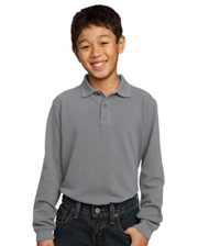 Port Authority - Youth Long Sleeve Pique Knit Sport Shirt.