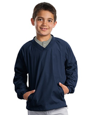 Sport-Tek Youth V-Neck Raglan Wind Shirt.