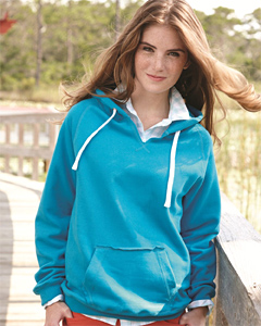 J. America Ladies' Sydney Brushed V-Neck Hooded Sweatshirt