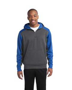 Sport-Tek- Colorblock Tech Fleece 1/4-Zip Hooded Sweatshirt