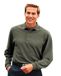 Port Authority Adult Long Sleeve Pique Knit Sport Shirt.