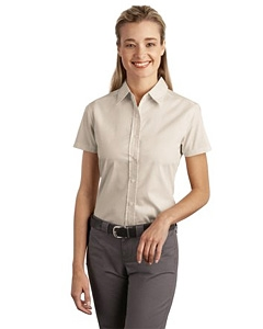 Port & Company Ladies Short Sleeve Easy Care, Soil Resistant Shirt.
