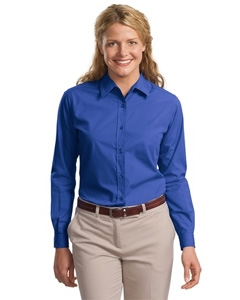 Port & Company Ladies Long Sleeve Easy Care, Soil Resistant Shirt.