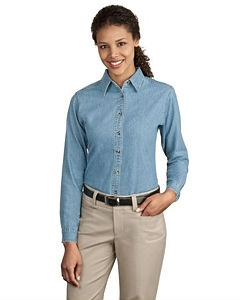 Port & Company® Ladies Long Sleeve Value Denim Shirt.