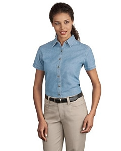 Port & Company® Ladies Short Sleeve Value Denim Shirt.
